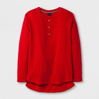 Boys' Long Sleeve Henley Thermal T-Shirt - art class Red XS
