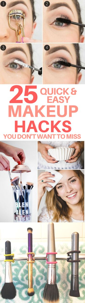 Quick & easy makeup tips & tricks that you will actually use. Makeup storage hacks, expiration dates, and how to repurpose everyday items. These makeup hacks are perfect for even beginners.