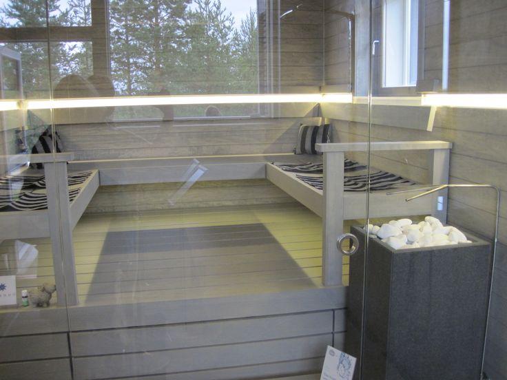 This sauna is heated with Tulikivi RAE saunaheater. Asuntomessut 2013 by Mari