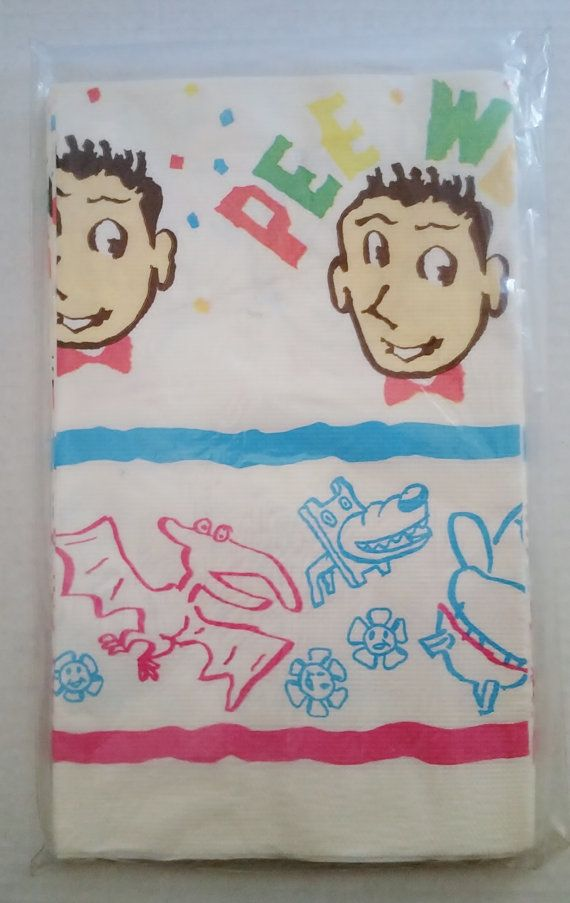 PEE WEE HERMAN Vintage Party Table Cloth/Cover 52x96 New Sealed 1988 Paul Reubens Pee Wee's Playhouse Big Adventure Kids 80's Tv Show Kitsch