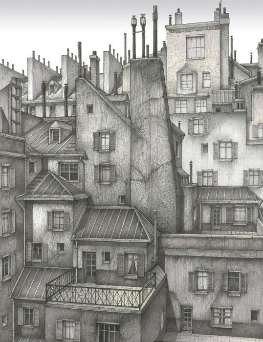 Paris roof tops. Gary Saber. Paris 1890s rooftops pen and ink drawing