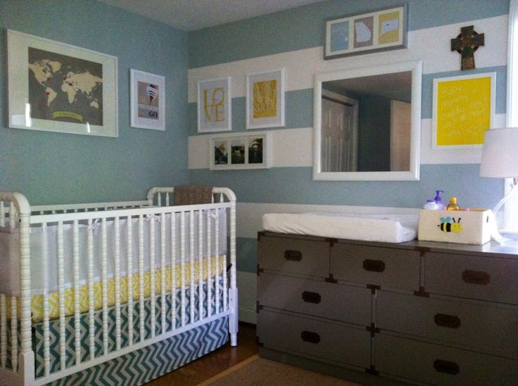 Striped Accent Wall in Blue and Gray Baby Nursery - #projectnursery