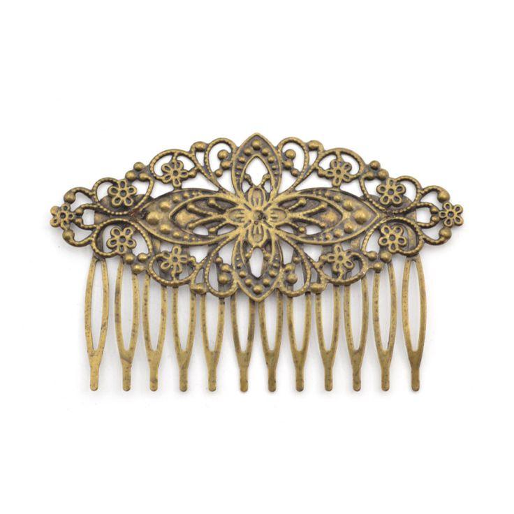 Lychee  Retro Vintage Antique Bronze Women Hair Comb Hollow Floral Shape Hair Comb Headwear Accessories