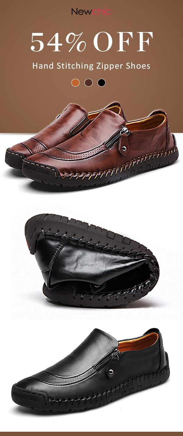 Menico Men Hand Stitching Zipper Slip ons Leather Shoes