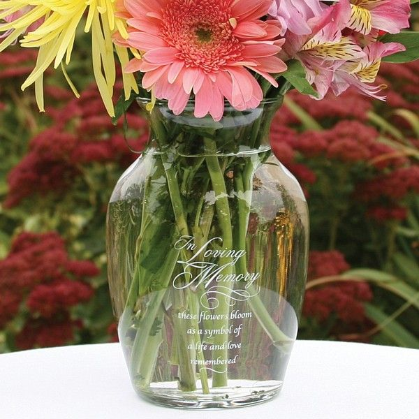 Honor loved ones remembered at your wedding ceremony and reception with an 'In Loving Memory' memorial flower vase.