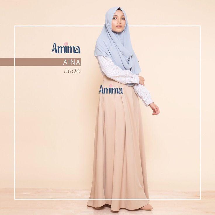 Gamis Amima Aina Dress Nude - baju muslim wanita baju muslimah Untukmu yg cantik syari dan trendy . . Size:  S ---> LD 94 | PJG 137 M ---> LD 100 | PJG 140 L ---> LD 106 | PJG 140 . . Material bahan : - BALODIOR  BALOTELLY nyaman digunakan seharian menyerap keringat material ringan dan flowy - Model rok potongan pinggang dengan overall design seperti rok-atasan yang terpisah sehingga menampilkan kesan 'young and fresh - Model kerah bulat dengan Bukaan kancing tersembunyi depan…