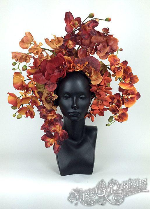 Red & Orange Orchid Headdress