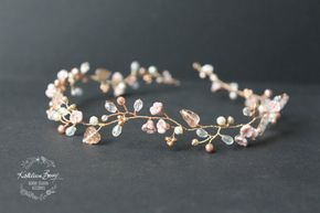 Dainty Rose gold hair vine style headband or wreath with blush pink and champagne STYLE: Zoe