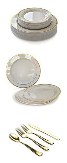 """Plates And Silverware Sets. """"OCCASIONS"""" Wedding Plastic Plates - Disposable Dinnerware with Silverware for 25 guests - (150 piece set , Ivory with Gold Rim ) ….  #plates #and #silverware #sets #platesand #andsilverware #silverwaresets"""