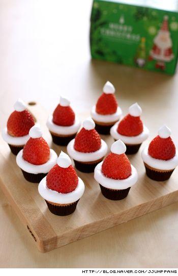 미니 산타 모자 컵케익