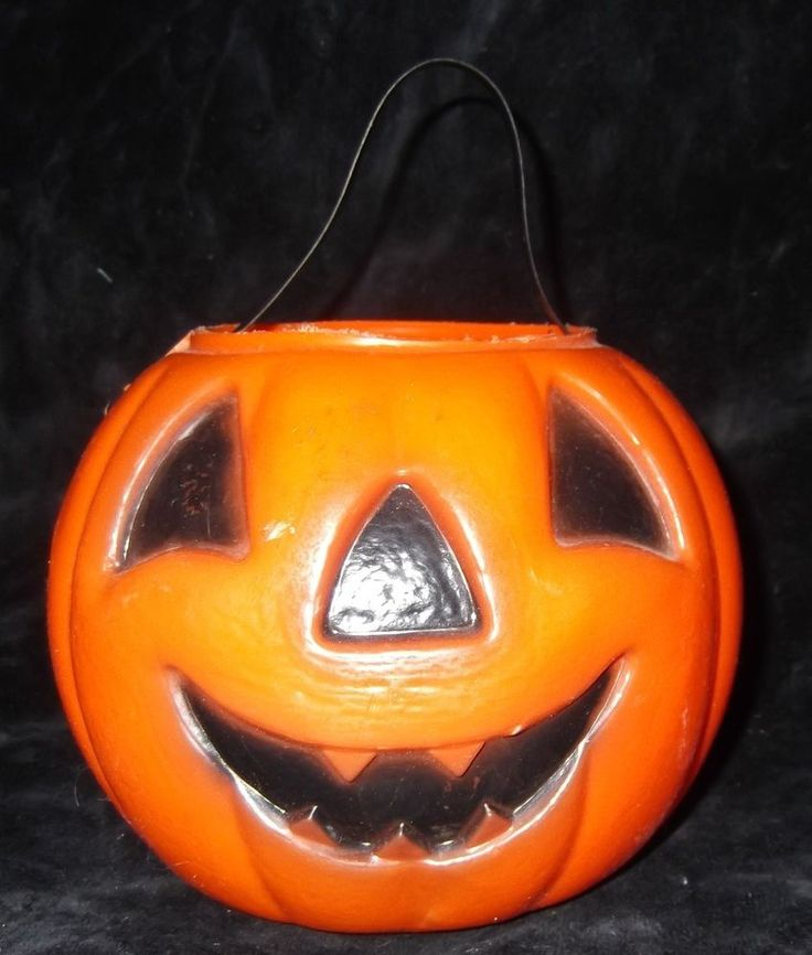 vtg 1960s 6 small plastic jack o lantern pumpkin trick or treat candy - Plastic Pumpkins