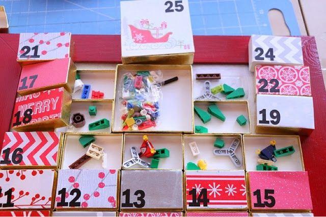 Ramblings of a Handbag Designer: DIY Lego Advent Calendar - make your own Christmas Lego advent calendar. Santa, elves, reindeer, and a tree!