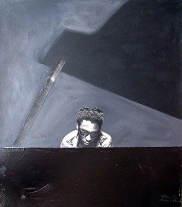 Sam Nhlengethwa the pianist, hand printed photo- lithographs and collages