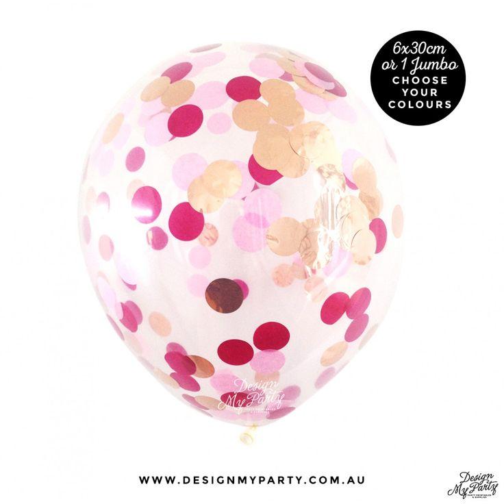 Glam Confetti Balloon - Raspberry, Mulberry, Rose Gold Copper