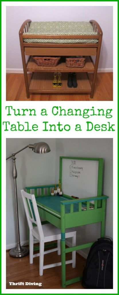 Don't get rid of an old changing table. Hack it into a desk for your kids! See full tutorial, lots of pics and instructions. - Thrift Diving Blog