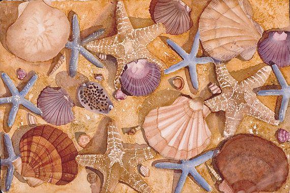 Sea Shells, Sand Dollars, Conch Shells, Starfish, WATERCOLOR PAINTING- beach, card