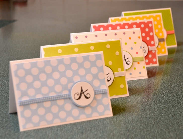 Polka Dot Monogram Note Cards Kids' Note by LizzyJaneBoutique
