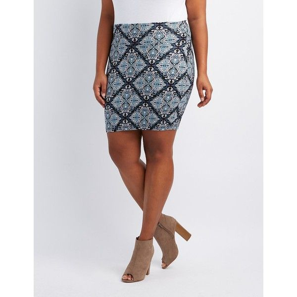 Charlotte Russe Printed Bodycon Mini Skirt ($4.99) ❤ liked on Polyvore featuring plus size women's fashion, plus size clothing, plus size skirts, plus size mini skirts, multi, plus size pencil skirt, pencil skirt, body con skirt, plus size short skirts and short mini skirts