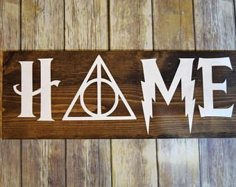 Harry Potter wood Sign Dumbledore Deathly Hallows Always Home for a Harry Potter fan