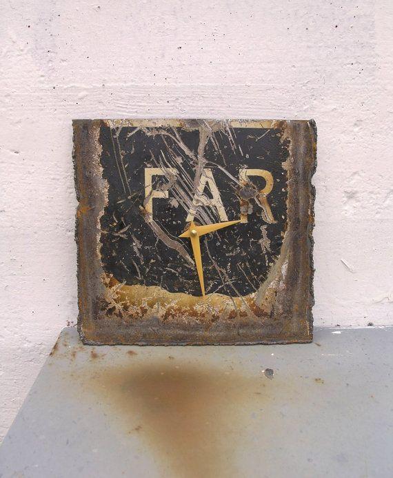 Metal Wall Clock,  Industrial Decor, Office Decor, Bachelor Decor, Upcycled Clock by paulaart on etsy