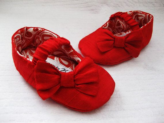 Girls red shoes red baby shoes Dupioni Silk by allthingsforbaby