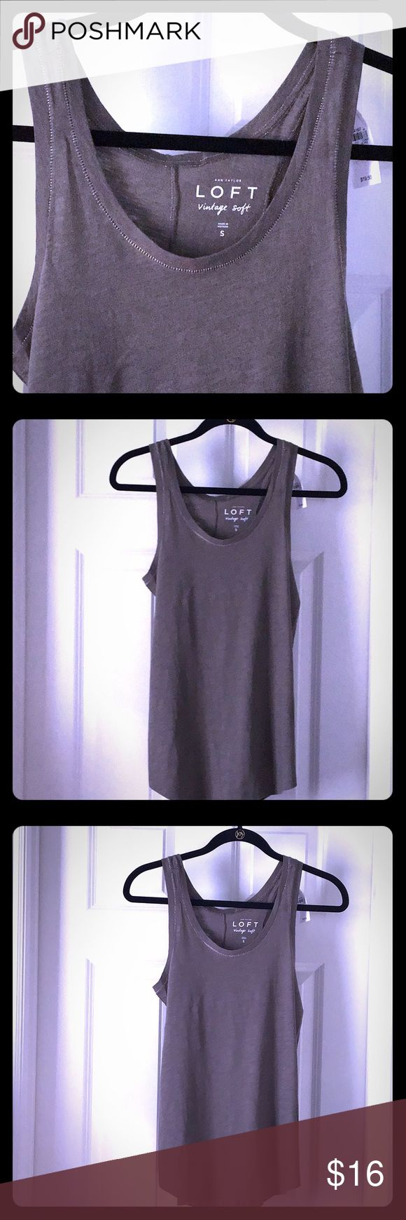 NEW Loft tank top Adorable greenish gray tank top, almost olive. Vintage soft wi... 1