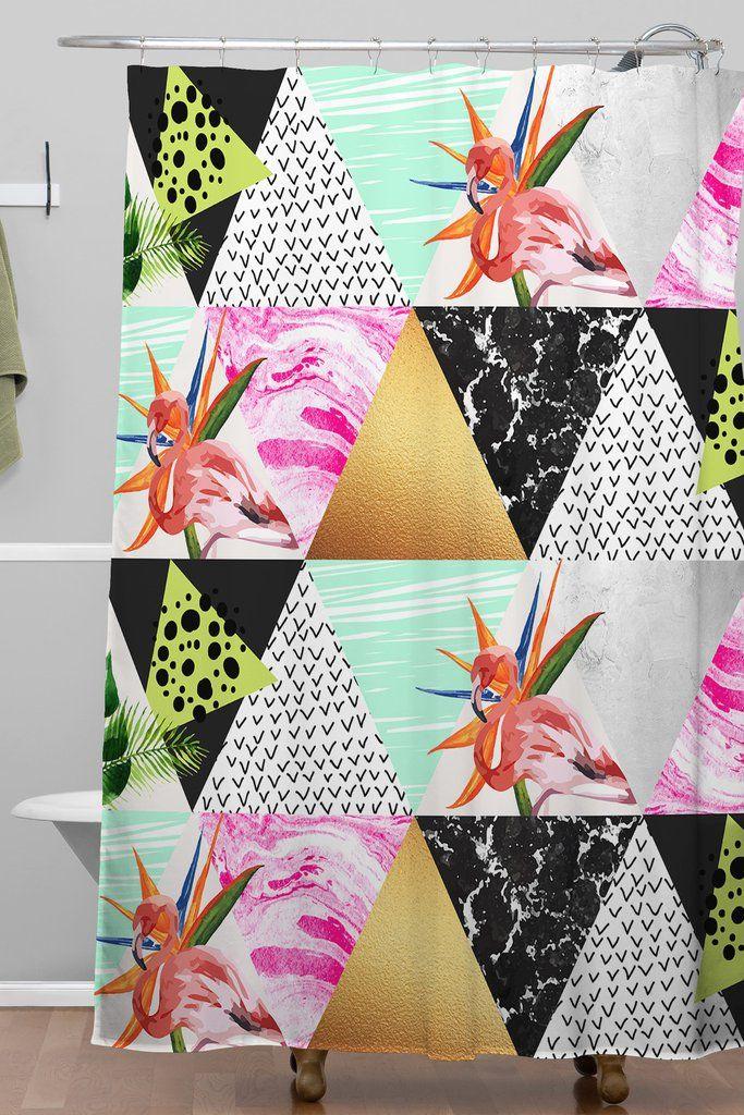 Marta Barragan Camarasa Geometric tropical Shower Curtain   Deny Designs Home Accessories