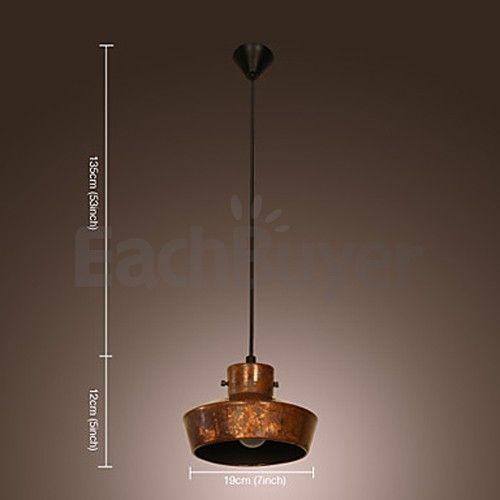 40W Retro Lampadario artistico con tonalità a forma di cappello di metallo arrugginito (220-240V)