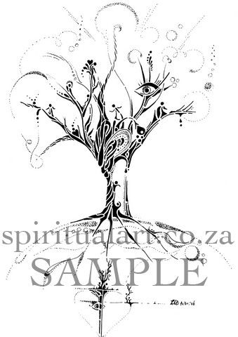 """""""Meeting"""" Conscious Drawing by Source - Inspirational, Intuitive Art: size A5 