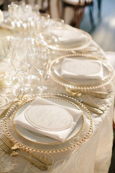Gorgeous!!  Love the gold-beaded chargers!