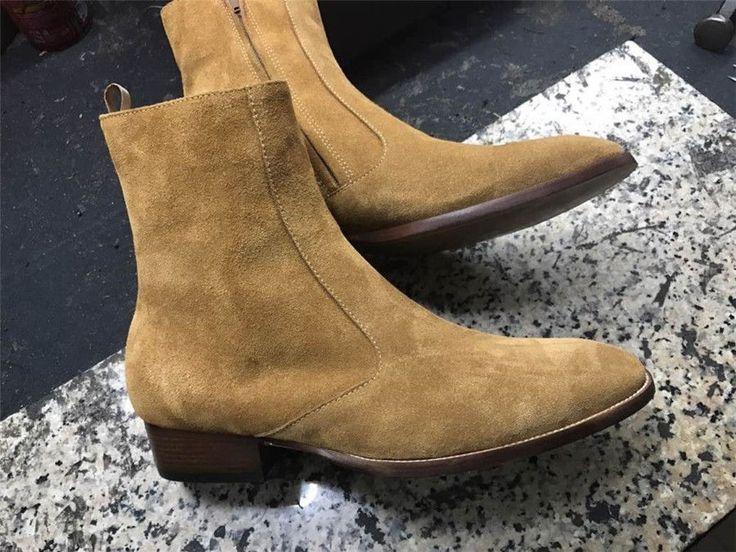 Handmade Men Tan color Suede ankle boots, Men side zipper boots, Men ankle boots #Handmade #AnkleBoots