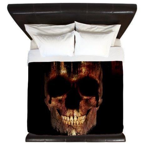 Halloween Skull Grunge Design King Duvet