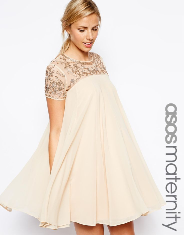 ivory sequined shift maternity cocktail dress for a wedding