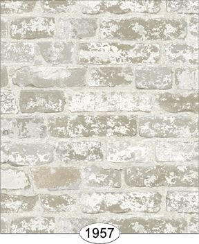 Wallpaper distressed brick white kmo this is the for Distressed brick wall mural