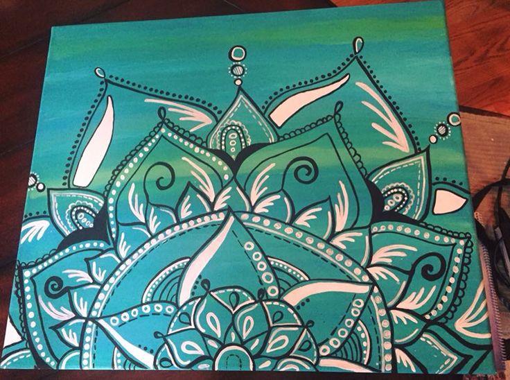 Teal mandala canvas art