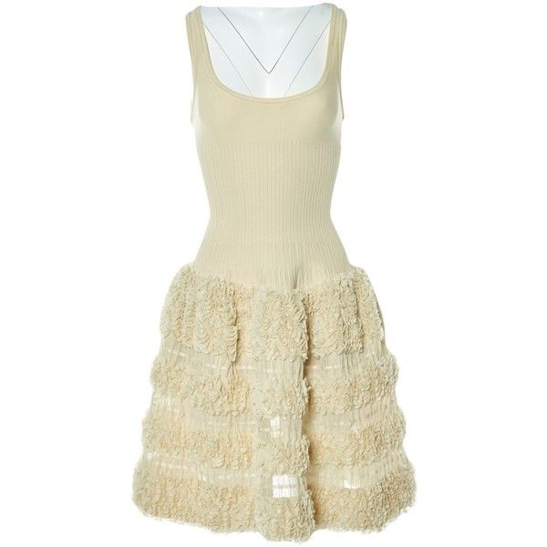 Pre-owned Alaïa Silk Mid-Length Dress featuring polyvore, women's fashion, clothing, dresses, ecru, pre owned dresses, beige silk dress, mid length dresses, beige dress and mid length cocktail dresses