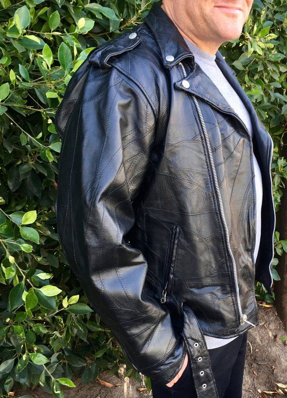 patchwork leather moto jacket