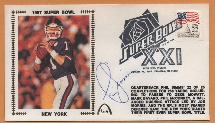 Phil Simms BLEM Super Bowl XXI Signed Gateway Stamp Envelope - New York Giants #NewYorkGiants