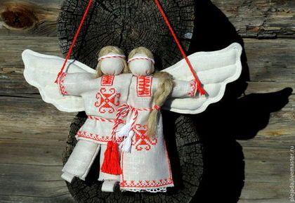 """Народные куклы ручной работы. Ярмарка Мастеров - ручная работа. Купить """"Неразлучники - без меня тебе , любимый мой, лететь с  одним крылом... Handmade."""