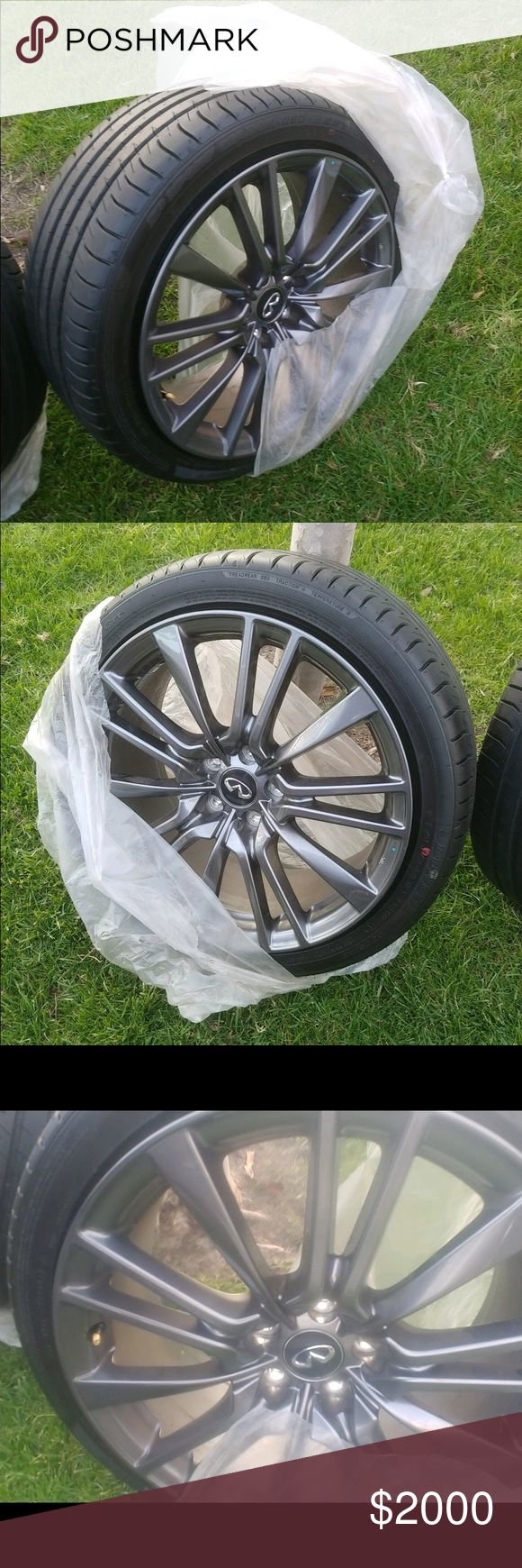 Rims and tires 19inch Infiniti Red sport new New tires and rims for sale. 19 inch Infiniti red sport run flat tires and rims for sale! Make an offer infiniti Other