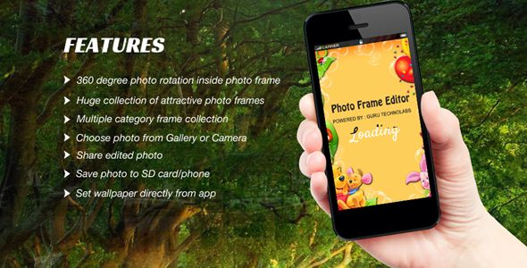 "Purchase the source code of our  ""Photo Frame Editor - Offline"" app for android only in $19"
