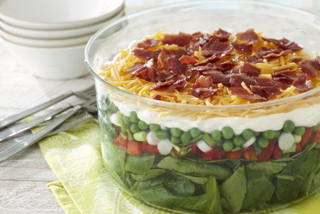 The classic potluck salad is as good as ever, with layers of veggies, bacon and cheese. This is what refreshing is all about.