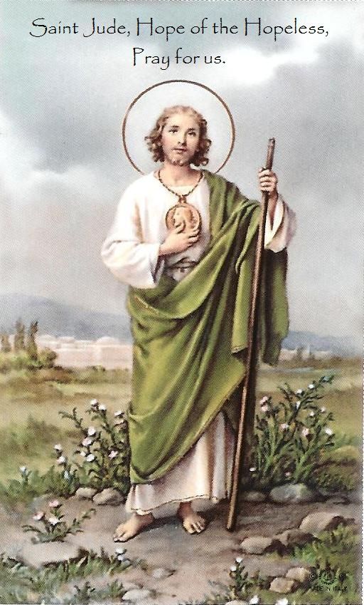 "Miracles Happen : St. Jude's Novena  ""May the Sacred Heart of Jesus be Adored, Glorified, Loved & Preserved through-out the world, now & forever.  Sacred Heart of Jesus have mercy on us, Saint Jude worker of Miracles, pray for us, Saint Jude helper and keeper of the hopeless, pray for us, Thank you Saint Jude"" Amen. Amen.  Say the prayer 8 times a day for 9 days. It has never been known to fail. Publication must be promised. Amen."