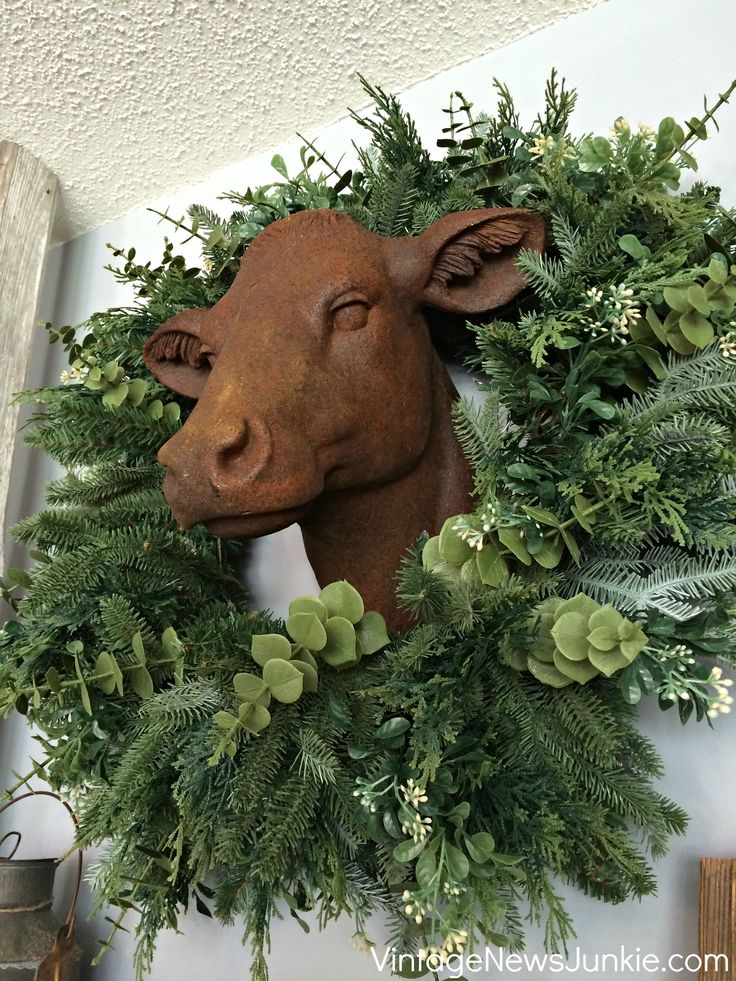 Balsam Hill Spring Wreath with Cow Head: Farms Collection, Dairy Farms, Rustic Farmhouse, Green Wreath, Farmhouse Mantels, Hill Giveaways, Cow Head, Balsamic Hill, Hill Farms