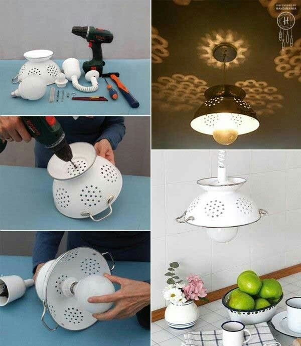 Diy repurpose old kitchen items... Colander light