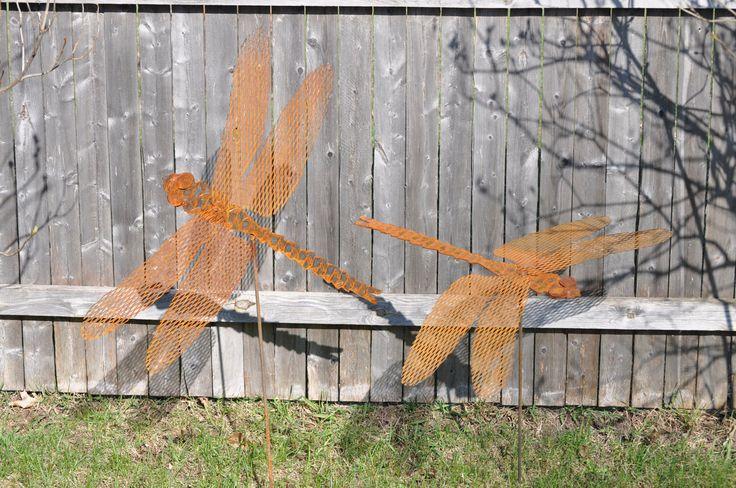 Metal Garden Art, Sculptured Metal Handmade Dragonfly, rusted metal dragonfly stake, dragonfly yard and garden stake by northwindmetalart on Etsy https://www.etsy.com/listing/72393698/metal-garden-art-sculptured-metal