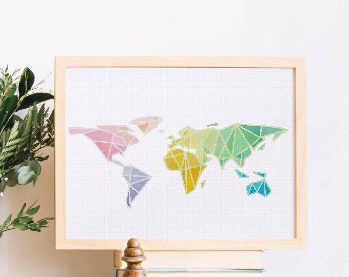 Geometric World Map cross stitch pattern modern baby nursery