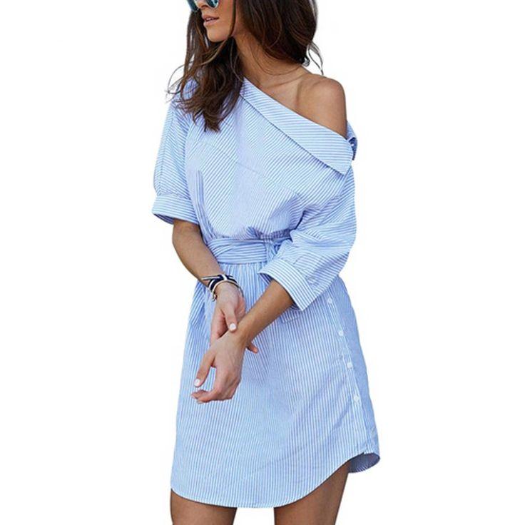 Frauen blau gestreiften Hemdkleid