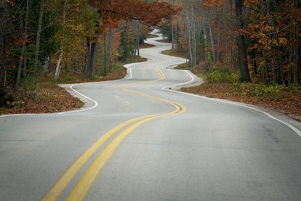 Door County curves! back-roads-and-blue-highways