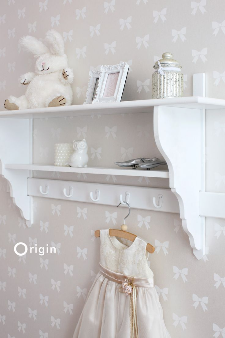 Origin luxury wallcoverings, non-woven wallpaper bow ties silver, collection upstairs downstairs